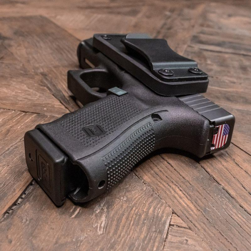 The holster magnet has a 45 pound pull weight, so your gun fits securely to the holster