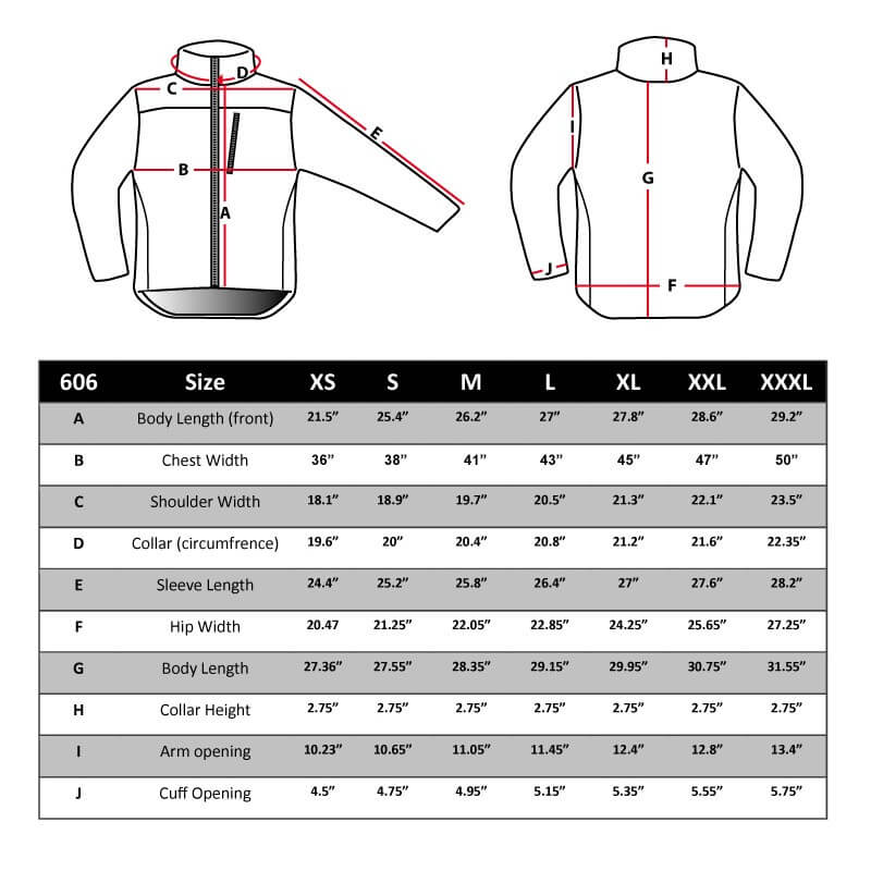 Jacket Sizing Chart  Tactical Concealment Jacket Jacket Sizing